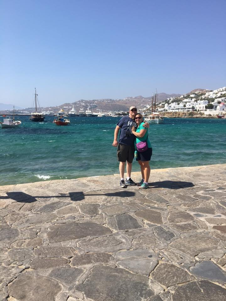 My husband and I in Greece this summer.